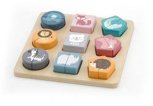Puzzle din cuburi din lemn cu animale salbatice, PolarB Viga