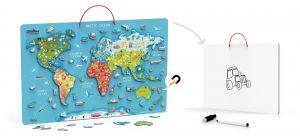 Puzzle magnetic Harta lumii si tabla de scris, Viga