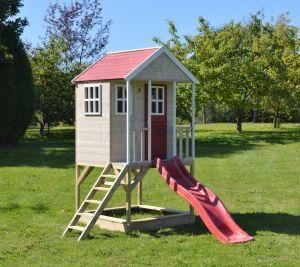 Casuta de gradina Nordic Adventure House cu platforma cu loc pentru nisip si tobogan (M8), Wendi Toys
