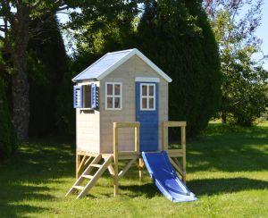 Casuta de gradina My Blue Cottage House cu platforma si tobogan (M26B), Wendi Toys