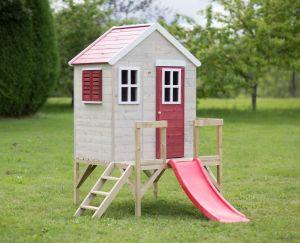 Casuta de gradina My Red Cottage House cu platforma si tobogan (M26R), Wendi Toys