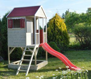 Casuta de gradina Summer Adventure House cu platforma cu loc pentru nisip si tobogan (M7), Wendi Toys