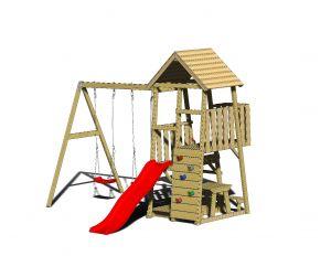Turn de joaca cu 2 platforme, panou de catarare, tobogan, 2 leagane, masuta de picnic cu bancute si lada de nisip (J10), Wendi Toys