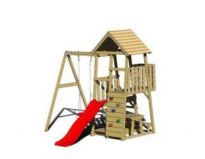 Turn de joaca cu 2 platforme, panou de catarare, tobogan, leagan, masuta de picnic cu bancute si lada de nisip (J8), Wendi Toys