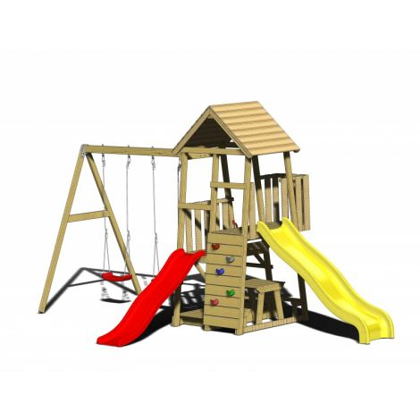 Turn de joaca cu 2 platforme, panou de catarare, 2 tobogane, 2 leagane, masuta de picnic cu bancute si lada de nisip (J101), Wendi Toys