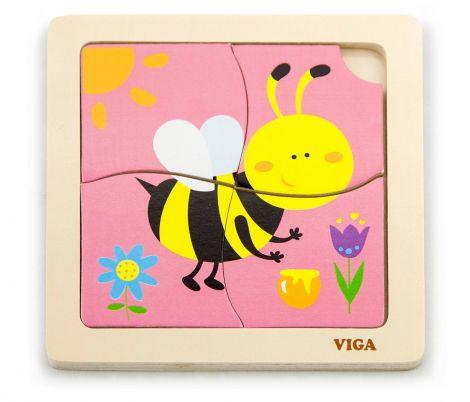 Puzzle din lemn din 4 piese mari - albina, Viga