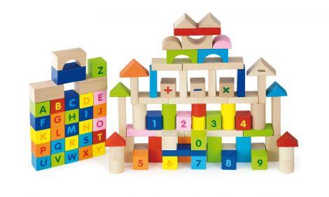 Cuburi din lemn 100 buc - Alfabet si Numere, Viga