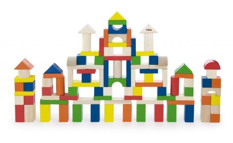 Cuburi de construit din lemn, colorate, 2.5 cm, 100 buc, Viga