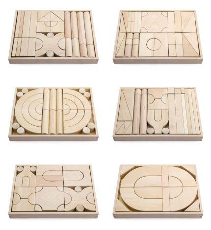 Set 6 modele blocuri arhitecturale de construit, natur, 158 buc, Viga