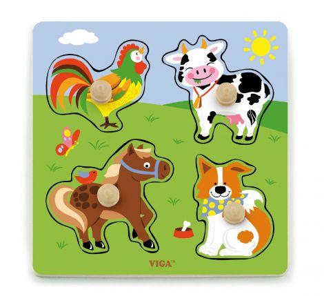 Puzzle cu manere - animale de la ferma, Viga