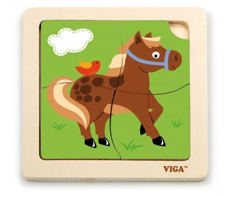 Puzzle din lemn din 4 piese mari - cal, Viga