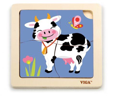 Puzzle din lemn din 4 piese mari - vaca, Viga