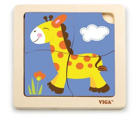 Puzzle din lemn din 4 piese mari - girafa, Viga