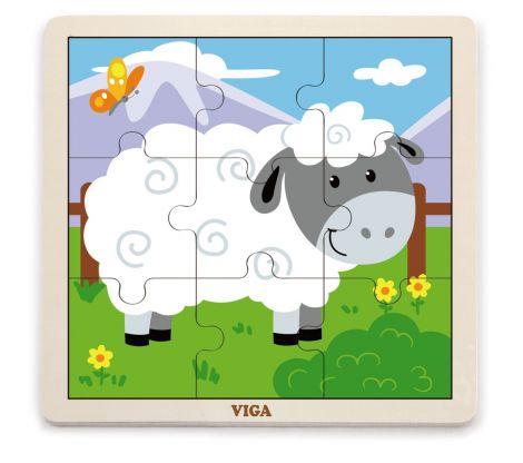 Puzzle din 9 piese mari - oaie, Viga