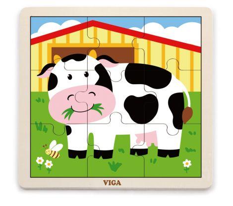 Puzzle din 9 piese mari - vaca, Viga