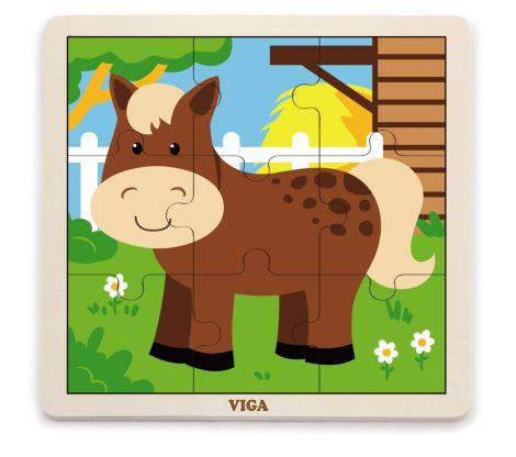 Puzzle din 9 piese mari - cal, Viga
