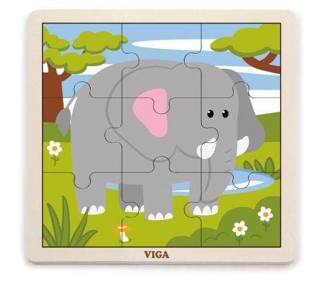 Puzzle din 9 piese mari - elefant, Viga
