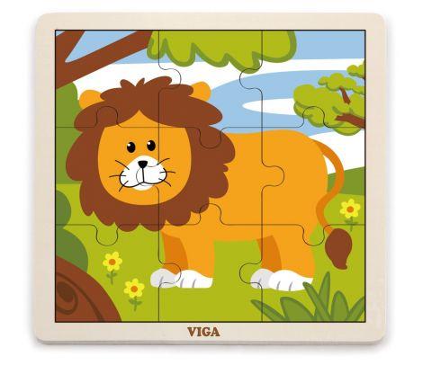 Puzzle din 9 piese mari - leu, Viga