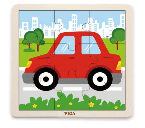 Puzzle din 9 piese mari - masina, Viga