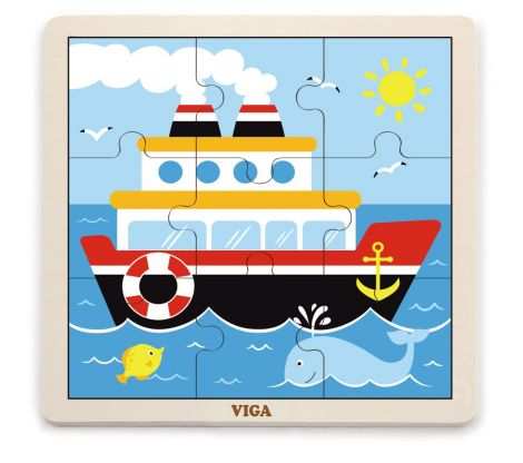 Puzzle din 9 piese mari - vapor, Viga
