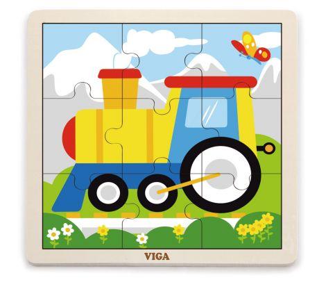 Puzzle din 9 piese mari - tren, Viga