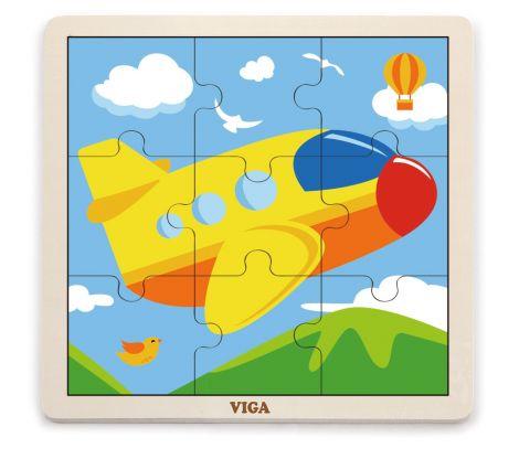 Puzzle din 9 piese mari - avion, Viga
