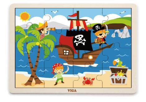 Puzzle din lemn din 16 piese - pirati, Viga