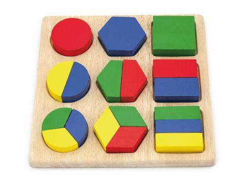Puzzle sortator cu forme geometrice si fractii, Viga