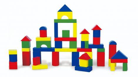 Cuburi de construit din lemn, colorate, 3.5 cm, 50 buc, Viga
