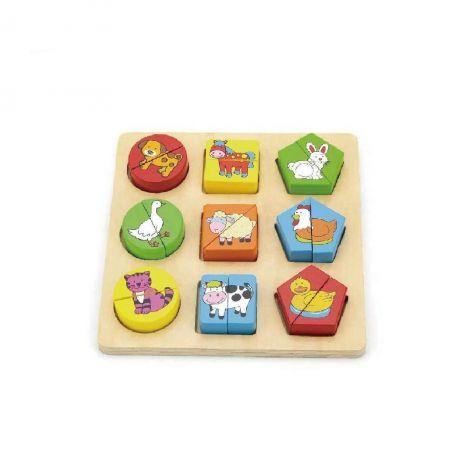 Puzzle din cuburi din lemn cu animale, Viga