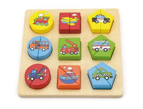 Puzzle din cuburi din lemn cu mijloace de transport, Viga