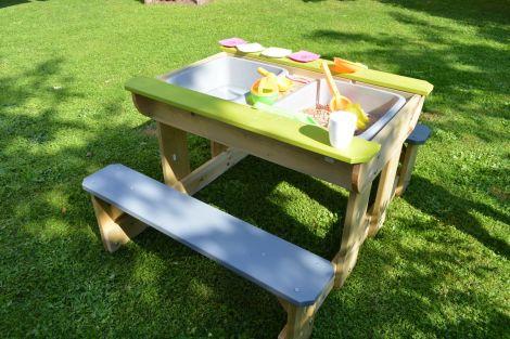 Masa de picnic senzoriala Deluxe cu bancute si loc pentru nisip si apa (T2), Wendi Toys