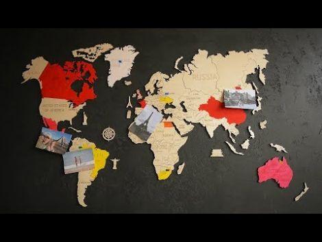 Harta lumii puzzle 3D de perete (L)