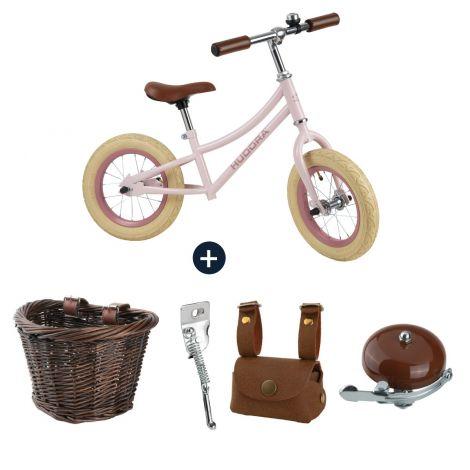 Bicicletă de echilibru retro roz cu cos, geanta si claxon vintage, Hudora