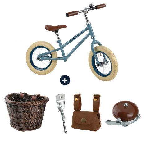 Bicicleta de echilibru retro albastră cu cos, geanta si claxon vintage, Hudora