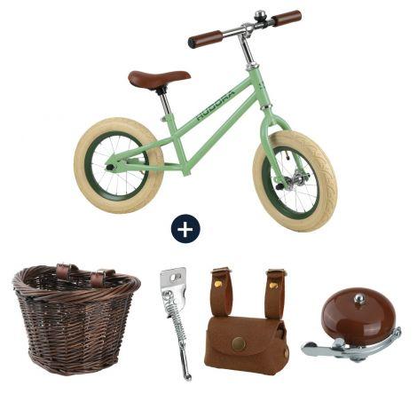 Bicicleta de echilibru retro verde cu cos, geanta si claxon vintage, Hudora