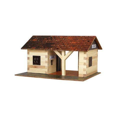 Set constructie arhitectura Gara mica, 115 piese din lemn, Walachia