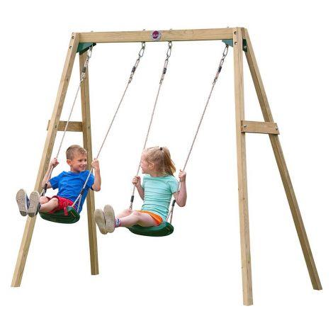 Leagan din lemn pentru 2 copii Double Swing Set Plum