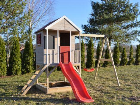 Casuta de gradina Summer Adventure House cu platforma cu loc pentru nisip, tobogan si leagan (M9), Wendi Toys