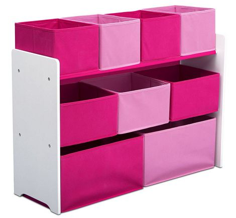 Organizator jucarii cu cadru din lemn Deluxe White Pink