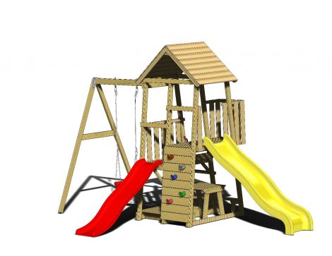 Turn de joaca cu 2 platforme, panou de catarare, 2 tobogane, leagan, masuta de picnic cu bancute si lada de nisip (J81), Wendi Toys