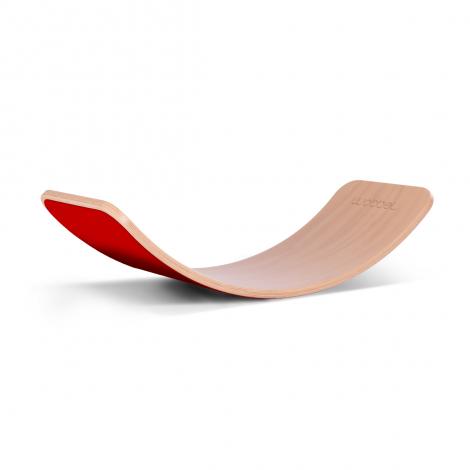 Placa de echilibru Wobbel Original, natur, lacuita, cu strat de lana rosie Red