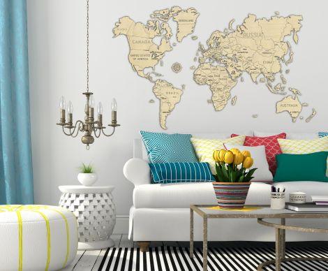 Harta lumii puzzle 3D de perete (XXL)